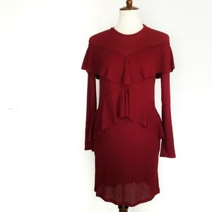 Zara Ruffle Long Sleeve Maroon Red Dress S
